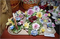7 Capodimonte Style Flower Baskets