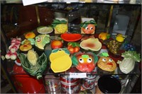 Fruit Lot Including Chalk Ware Fruit And Usa Potte