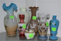 7 Pieces Ornately Hp Glass Vases In Various Hues