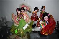 4 Paper Mache Oriental Dolls