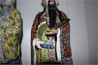 """3 16"""" Tall Hand Decorated Oriental Men (Some Damag"""