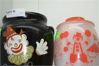 3 Country Jars: Painted Glass Clown, Ceramic Clown