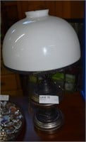 Electrified Tin Lawyers Lamp With Milk Glass Shade