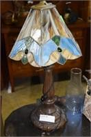 """Slag Glass 22"""" Lamp On Metal Base (1 Foot As Is)"""