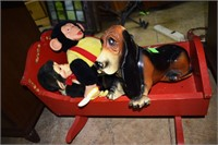 Wooden Doll Rocker With Vintage Monkeys And Basset