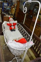 """Cast Iron Painted White 52""""H Baby Bassinet"""
