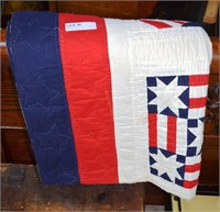 Red, White And Blue Hand Stitched Quilt