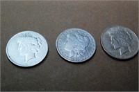 3 Silver Dollars: Morgan & 2 Liberties