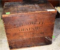 "Vintage Wooden Varnish Box 19""W X 17"" H X 12"" D"