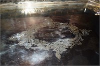 Ornately Carved Silver Plate Serving Tray Stamped