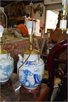 2 Blue And White Oriental Dragon Themed Lamps