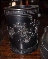 Iron Wood Brush Pot With Bird Motif And Iron Wood