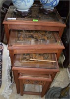 4 Highly Carved Oriental Themed Stacking Tables (S