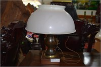 Wood Base Lawyers Desk Lamp With Over Sized Milk G