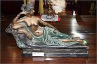 Gossin Reclining Nude Bronze Figurine On Marble Ba