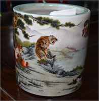 Contemporary Chinese Brush Pot With Animal Scene A