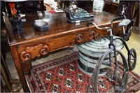 """Solid Library Table With Ornate Carvings 72""""W X 40"""