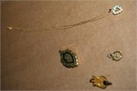 14Kt Opal Heart Necklace, 12Kt Pendant & 12Kt Lock