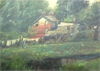 Early Oil On Canvas Of Farm House Scene Wash Day