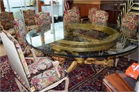 6'X5' Round Glass Topped Dining Table With 3 Legge