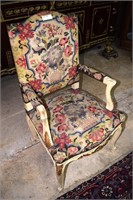 6 French Needlepoint Dining Chairs With Gold Accen