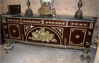 Outstanding French Provincial Brass Embellished Gr