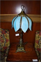 Blue Slag Glass Shaded Lamp With Ornate Brass Base