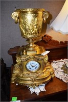 Gold Gilded Multi Part Mantle Clock W. Rams Head &