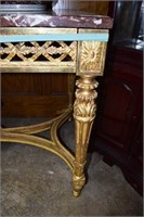 French Gold Gilded Brown Marble Top Table With Fre