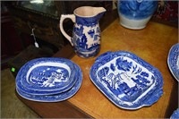 4 English Staffordshire Blue Willow Serving Bowls