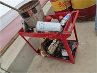 tool cart with miscellaneous items