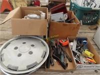 tape measure, square, pry bar, electric box,