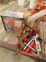 drill bit sharpener in box, C-clamp and