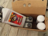 Mobil 15w - 50 motor oil, two tubes of red n
