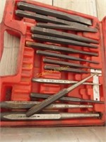 chisel / punch set, plastic ties, bungee cords