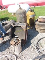 radiator, old tank, air compressor, RAM and items