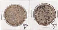 Coin 2 Morgan Silver Dollars 1899-O & 1898-S