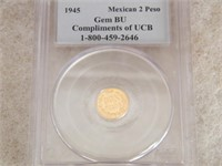 "GOLD: 1945 PCGS BU MEXICAN 2 PESO ""COMPLIMENTS"