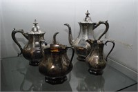 4pc etched English Sterling Tea Set original box