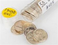 Coin 50 Mercury Dimes 1943-D Brilliant Unc.