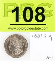 Coin 1881-S  Morgan Silver Dollar Almost Unc.
