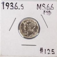 Coin 1936-S Mercury Dime Brilliant Unc. Full Bands