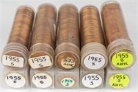 Coin 10 Rolls 1955-S  B.U. Lincoln Rolls