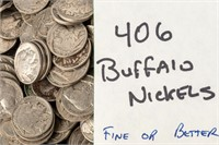 Coin 406 Buffalo Nickels Fine or Better