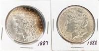 Coin 2 Morgan Silver Dollars 1887 & 1888