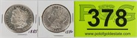 Coin 2 Morgan Silver Dollars 1885 & 1886  BU