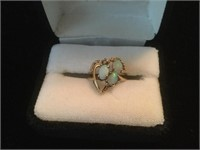 Jewelry Opal with Diamond 14K Gold Ring