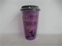 My Broomstick Runs On Coffee Travel Mug, Purple