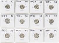 Coin 19 Brilliant Unc. Mercury Dimes 1940's