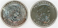 Coin 2 Canadian 5 Dollar Silver .999 Coins